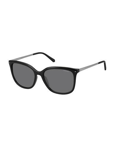 Polaroid 57MM Rectangle Polarized Sunglasses-BLACK-One Size