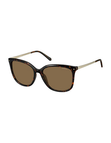 Polaroid 57MM Rectangle Polarized Sunglasses-HAVANA-One Size