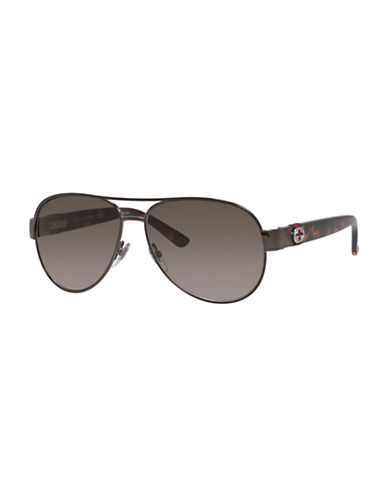 Gucci 58mm Classic Aviator Sunglasses-BROWN / HAVANA-One Size