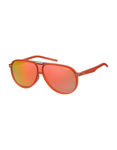 Polaroid PLD6025S 99mm Aviator Sunglasses-ORANGE-One Size