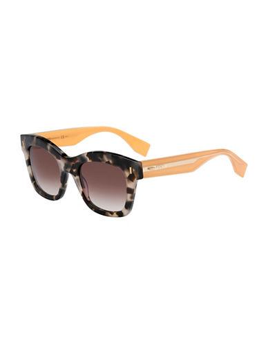 Fendi Square Plastic Sunglasses-BEIGE-One Size