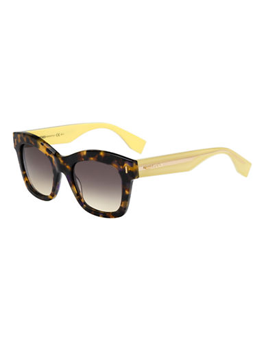 Fendi Square Plastic Sunglasses-YELLOW-One Size
