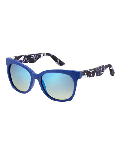 Mcq By Alexander Mcqueen Rectangular Sunglasses MCQ0001/S-BLUE MIRRORED-One Size
