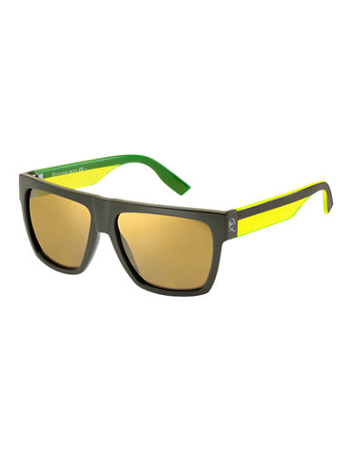 Mcq By Alexander Mcqueen Rectangular Sunglass MCQ0005/S-GREEN/YELLOW MIRRORED-One Size