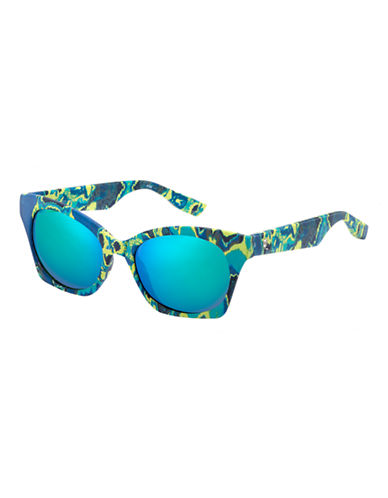 Mcq By Alexander Mcqueen Cat Eye Sunglass MCQ0003/S-BLUE GREEN MIRRORRED-One Size