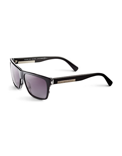Marc Jacobs Flat Top Gradient Sunglasses-STRIPED BLACK-One Size
