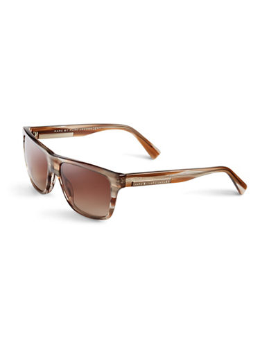 Marc Jacobs Flat Top Gradient Sunglasses-STRIPED BROWN-One Size