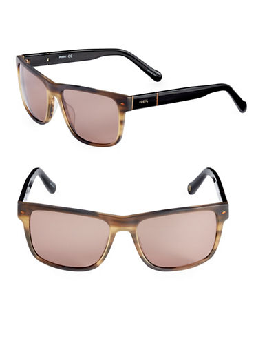 Fossil Matte 55mm Square Sunglasses-BROWN-One Size