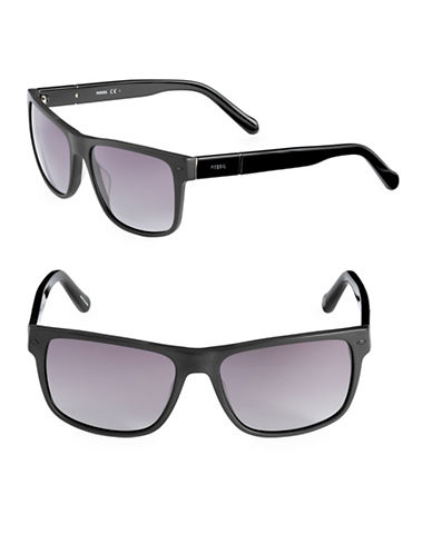 Fossil Matte 55mm Square Sunglasses-BLACK-One Size