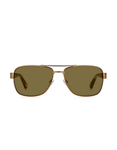 Fossil Squared Off 60mm Aviators Sunglasses-BROWN-One Size