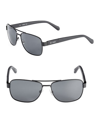 Fossil Squared Off 60mm Aviators Sunglasses-BLACK-One Size