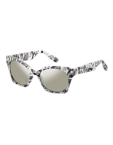 Mcq By Alexander Mcqueen Cat Eye Sunglass MCQ0003/S-BLACK/WHITE MIRRORED-One Size