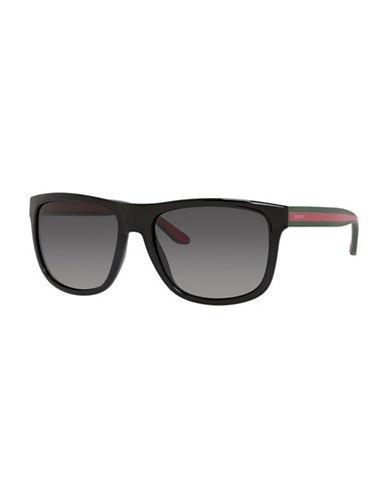 Gucci Striped Refined Wayfarer Sunglasses-BLACK-One Size