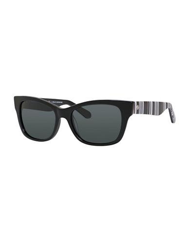Kate Spade New York 53mm Classic Rectangular Sunglasses-BLACK-One Size