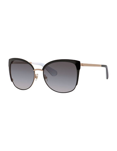 Kate Spade New York 57mm Bright and Bold Clubmaster Sunglasses-BLACK/GOLD-One Size