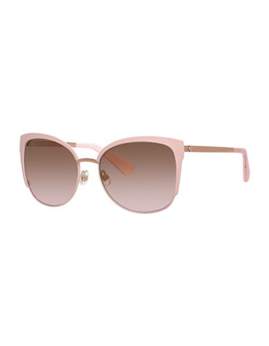 Kate Spade New York 57mm Bright and Bold Clubmaster Sunglasses-PINK/GOLD-One Size