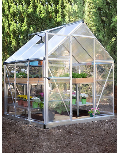 Palram Hybrid 6 ft. x 6 ft. Greenhouse-SILVER-One Size