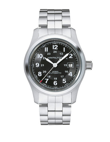 Hamilton Analog Khaki Field Stainless Steel Bracelet Watch-SILVER-One Size