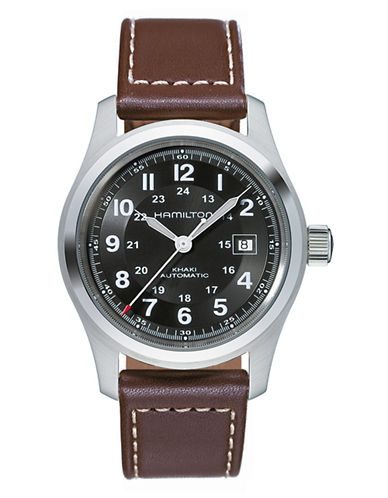 Hamilton Mens Khaki Field Day Date Auto Watch-BROWN-One Size