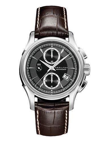 Hamilton Mens Jazzmaster Auto Chrono Leather Strap Watch-BROWN-One Size