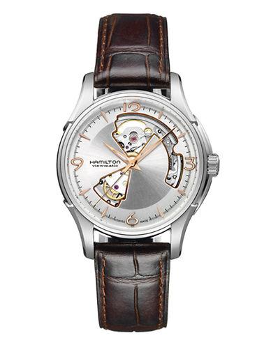 Hamilton Mens Jazzmaster Open Heart Auto Watch-BROWN-One Size