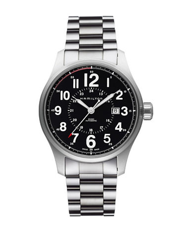 Hamilton Analog Khaki Officer Stainless Steel Bracelet Watch-SILVER-One Size