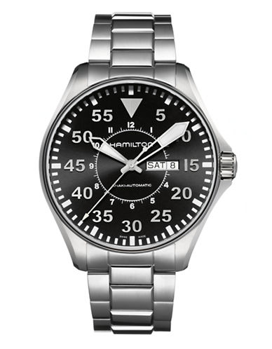Hamilton Mens Khaki Pilot Auto Watch-SILVER-One Size