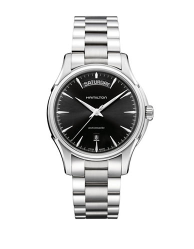 Hamilton Analog Day Date Stainless Steel Bracelet Watch-SILVER-One Size
