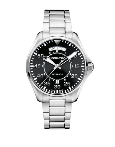 Hamilton Analog Pilot Day Date Stainless Steel Bracelet Watch-SILVER-One Size
