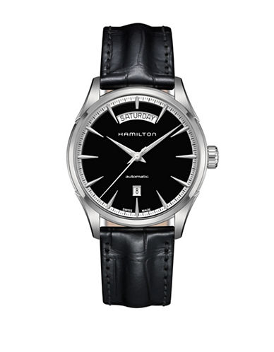 Hamilton Silvertone and Leather Analog Watch-BLACK-One Size