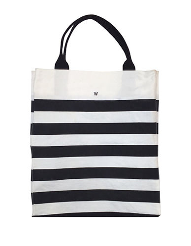 Dan Ward Striped Beach Tote-WHITE/NAVY-One Size