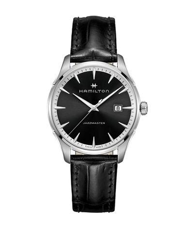 Hamilton Quartz Jazzmaster Gent Quartz Leather Watch-BLACK-One Size