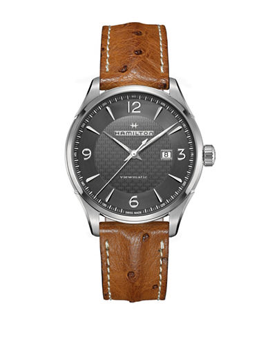 Hamilton Stainless Steel Analog Leather Strap Watch-BROWN-One Size