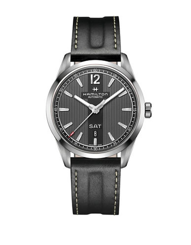 Hamilton Automatic Broadway Day Date Auto Leather Watch-BLACK-One Size