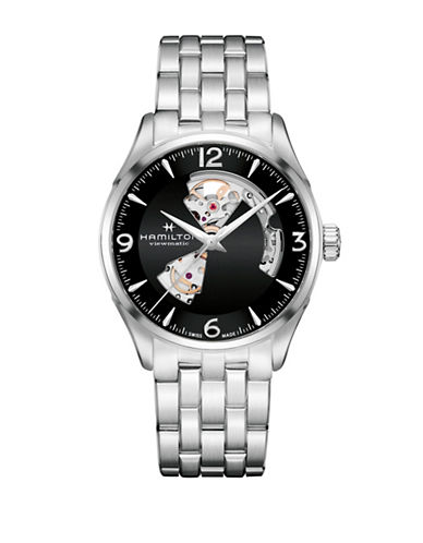 Hamilton Analog Open Heart Stainless Steel Bracelet Watch-SILVER-One Size
