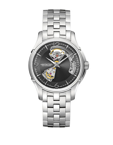 Hamilton Jazzmaster Automatic Open Heart Strap Watch-SILVER-One Size