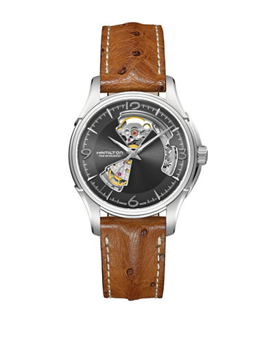 Hamilton Jazzmaster Automatic Open Heart Strap Watch-BROWN-One Size