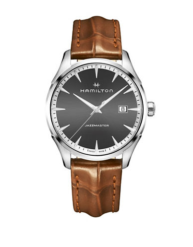 Hamilton Analog Gent Quartz Leather Strap Watch-BROWN-One Size