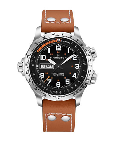 Hamilton Automatic Khaki X-Wind Day Date Leather Watch-BROWN-One Size