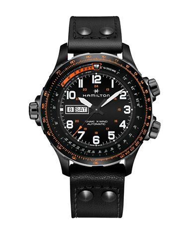 Hamilton Analog X-Wind Day Date Black Leather Strap Watch-BLACK-One Size