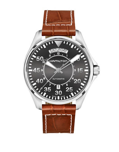Hamilton Analog Pilot Day Date Leather Strap Watch-BROWN-One Size