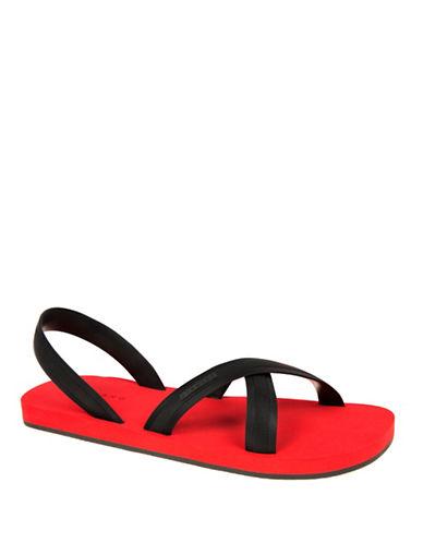 Dan Ward Cross-Strap Slingback Sandals-BLACK/RED-EU 40/US 7