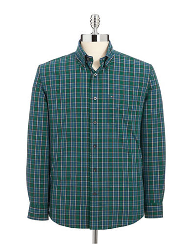 TOMMY HILFIGER Graphic Check Sport Shirt winter green Size Small
