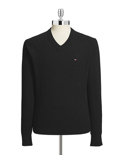 Tommy Hilfiger Signature V Neck Sweater-BLACK-X-Large