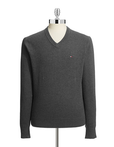 Tommy Hilfiger Signature V Neck Sweater-GREY-Small