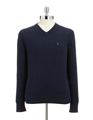Tommy Hilfiger Signature V Neck Sweater-NAVY-X-Large