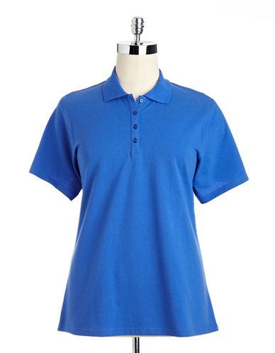 Plus Size Pique Polo Shirt blue 2X