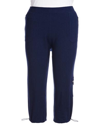 Plus Size Plus Size Bungee Hem Capri Pants blue 1X