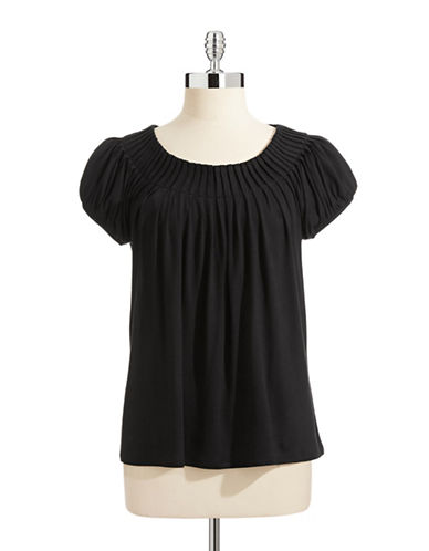 Style And Co. Petite Short Sleeve Pleat Neck Top-BLACK-Petite X-Small