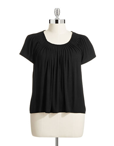 Style And Co. Plus Solid Pleat Neck Top-BLACK-1X
